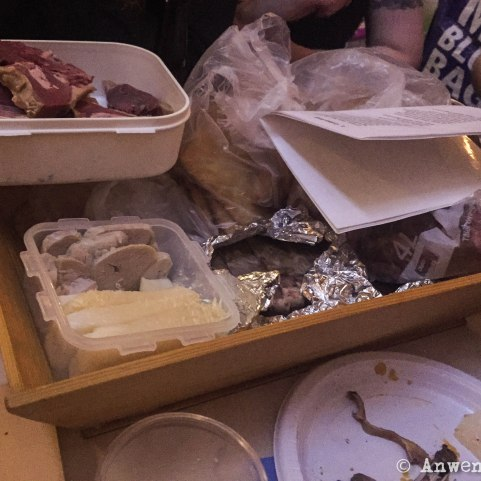 unpacking the feast.