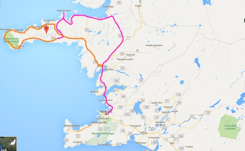 The route in the Pink is where we drove on the Saturday and the orange is where we drove on the Sunday.